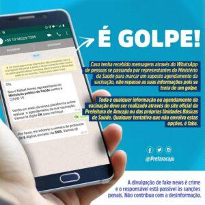 Prefeitura de Aracaju alerta sobre golpe de falso cadastro na vacinação