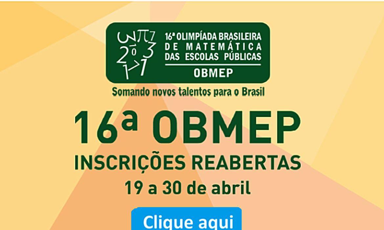 Escolas têm até hoje para se inscrever na Olimpíada de Matemática